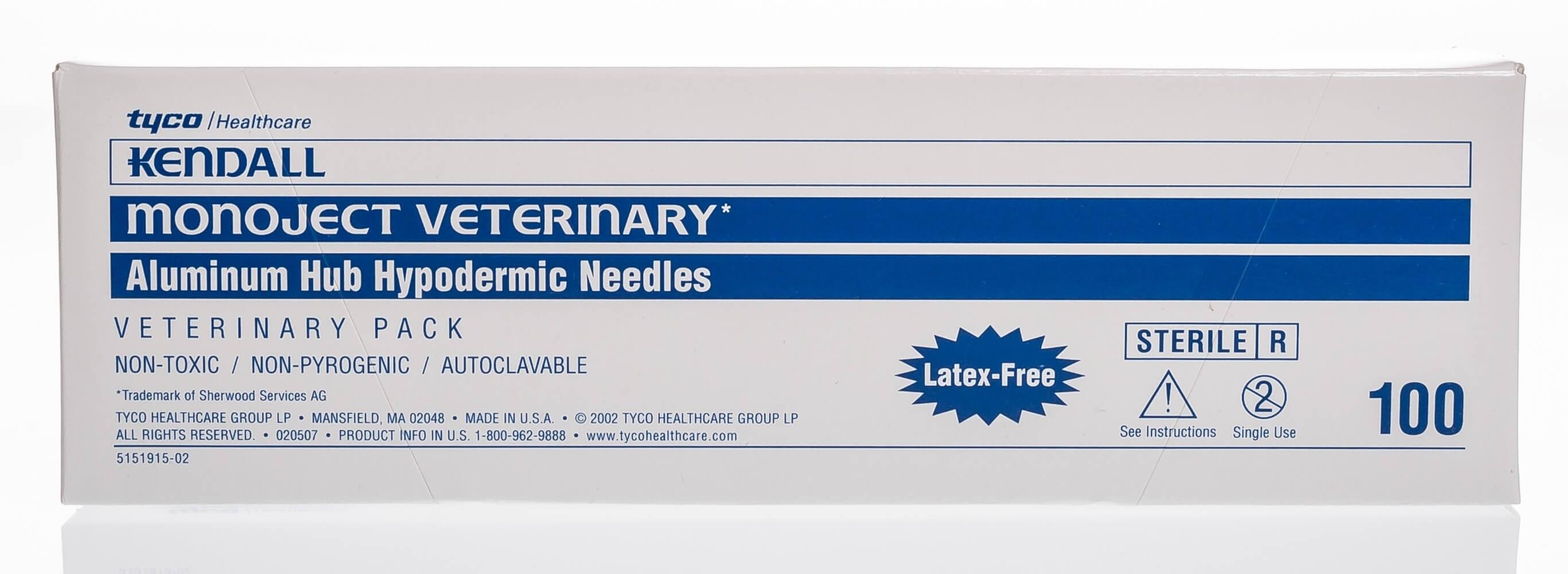 Monoject Needle Hypodermic Aluminum Hub Santa Cruz Animal Health