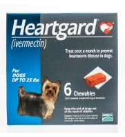 Heartgard for Dogs, Blue, up to 25 lbs, 68 micrograms, 6 count