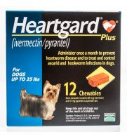 Heartgard Plus for Dogs, Blue, up to 25 pounds, 68 mu g, 6 count